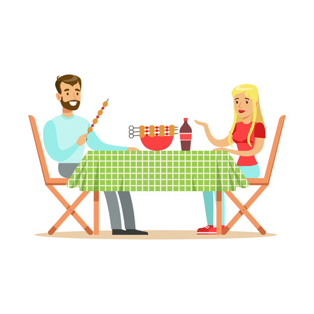 pareja comiendo: Happy couple enjoying barbeque, cheerful man and woman characters at a picnic vector Illustration isolated on a white background
