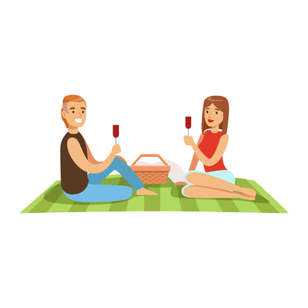 Young couple having picnic, man and woman characters in love sitting on a picnic plaid and drinking wine vector Illustration isolated on a white background