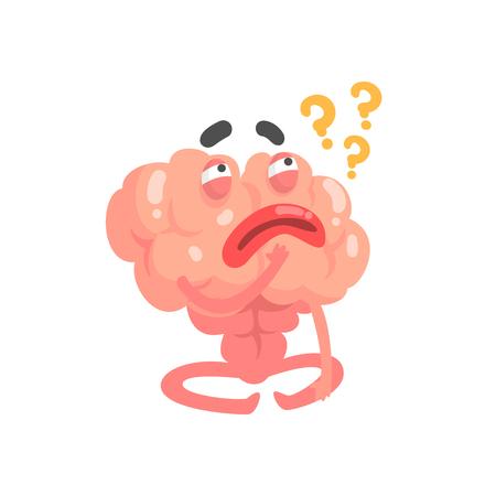 Caractère de cerveau de dessin animé de pensée humanisée, vecteur d'organe humain intellect Illustration isolé sur fond blanc Banque d'images - 80957706