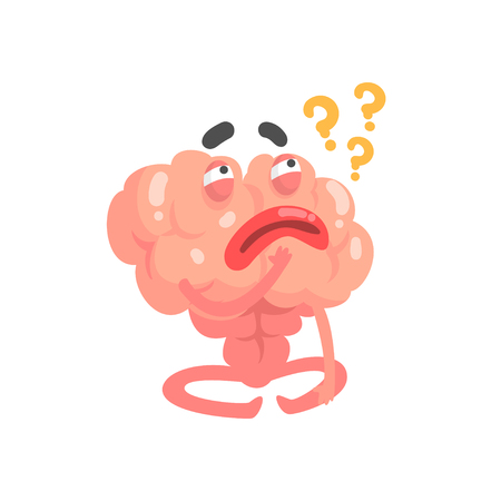 Humanized thinking cartoon brain character, intellect human organ vector Illustration isolated on a white background 向量圖像