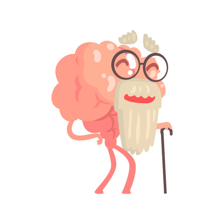 Humanized gray bearded old cartoon brain character walking with a cane, intellect human organ vector Illustration isolated on a white background