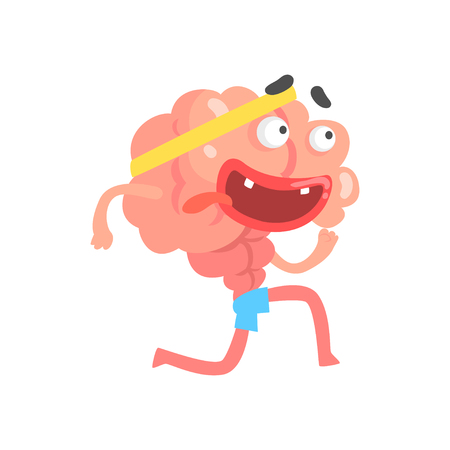 Athletic humanized cartoon brain character running, intellect human organ vector Illustration isolated on a white background Stock Vector - 80957733