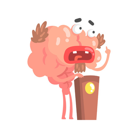Humanized cartoon brain character speaking from tribune, intellect human organ vector Illustration isolated on a white background