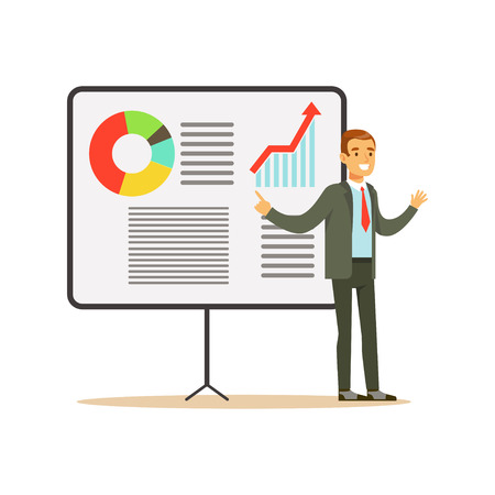coworker: Smiling businessman pointing at a board with growing graph at a presentation, vector Illustration isolated on a white background
