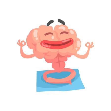 편안한 인간의 만화 두뇌 캐릭터 명상, 지능 인간의 기관 벡터 일러스트 레이 션 흰색 배경에 고립 일러스트