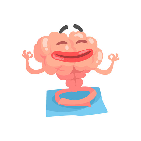 Relaxed humanized cartoon brain character meditating, intellect human organ vector Illustration isolated on a white background