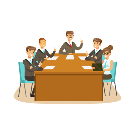 Business partners discussing and voting at meeting in an office vector Illustration isolated on a white background