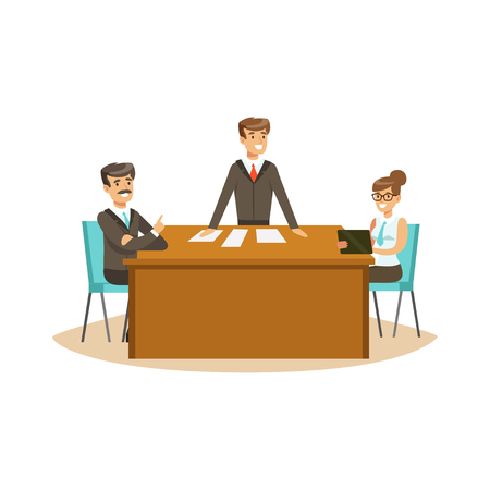 coworker: Businesspeople discussing at meeting in an office vector Illustration isolated on a white background