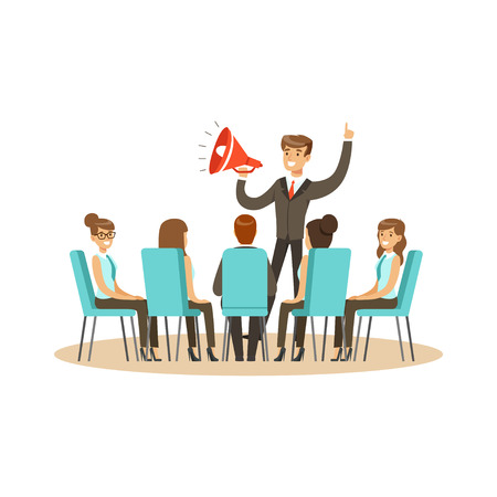 Business leader using loudspeaker during business meeting vector Illustration isolated on a white background