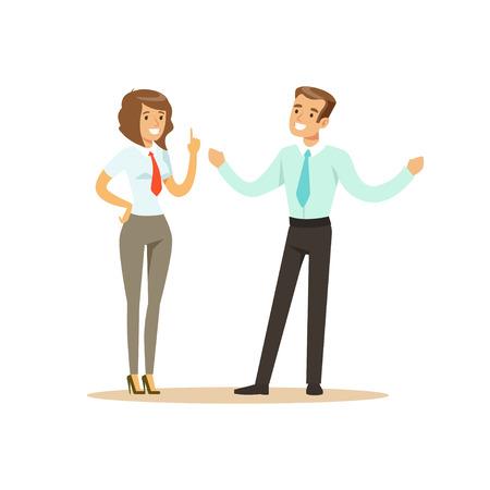 Lächelnder Geschäftsmann und Geschäftsfrau, die Sitzung in der Bürovektor Illustration lokalisiert auf einem weißen Hintergrund hat