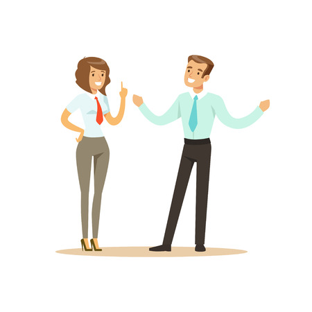 Smiling businessman and businesswoman having meeting in office vector Illustration isolated on a white background Çizim