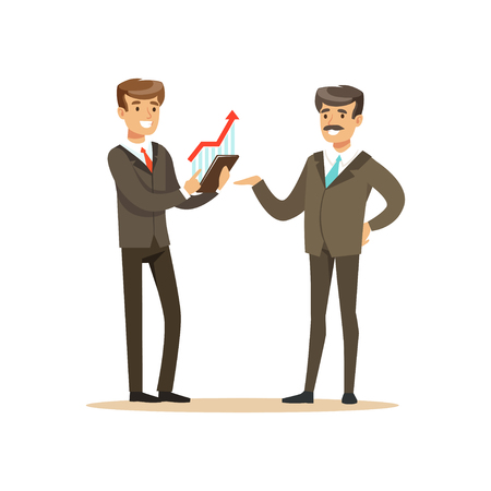 Business partners discussing financial resultst at meeting in office vector Illustration isolated on a white background Illustration