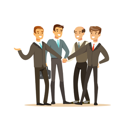 Group of businessmen having meeting in office vector Illustration isolated on a white background Vettoriali