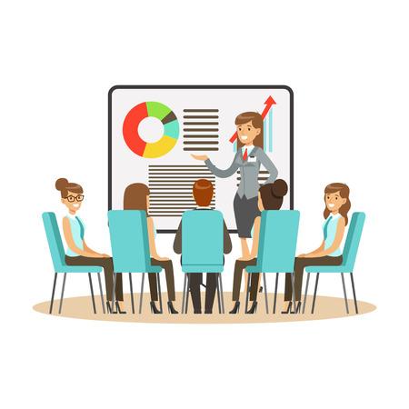 Onderneemster in kostuum die presentatie en het verklaren van grafiek op een whiteboard, commerciële vergadering in een bureau vectorIllustratie maken die op een witte achtergrond wordt geïsoleerd
