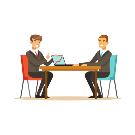 coworker: Two businessmen at a business meeting discussing new project with laptop in office vector Illustration isolated on a white background Illustration
