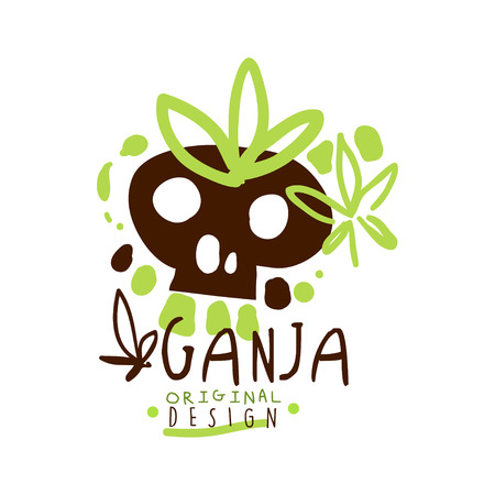 Ganja label original design, graphic template colorful hand drawn vector Illustration