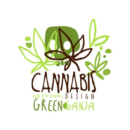 Cannabis green ganja label original design,  graphic template colorful hand drawn vector Illustration Çizim
