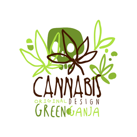 Cannabis green ganja label original design,  graphic template colorful hand drawn vector Illustration Illustration