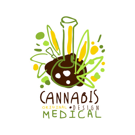 Medical cannabis label original design, graphic template colorful hand drawn vector Illustration Illustration
