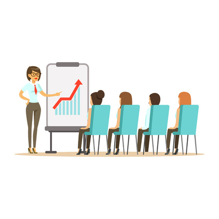 Businesswoman pointing at a whiteboard with growth graph at a business meeting in an office vector Illustration isolated on a white background Stock Illustratie