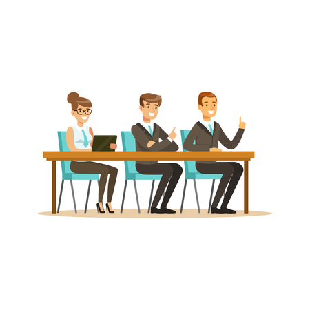 coworker: Business people attending and listening at conference, seminar, lecture or training vector Illustration isolated on a white background Illustration