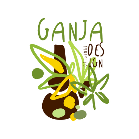 Ganja label, graphic template colorful hand drawn vector Illustration Illustration