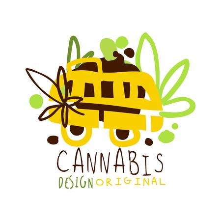 Cannabis label original design,  graphic template colorful hand drawn vector Illustration Çizim