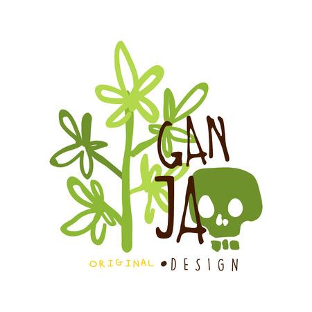 Ganja label original design, graphic template