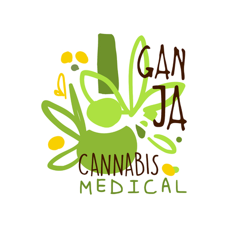 Ganja, cannabis medical label, graphic template colorful hand drawn vector Illustration