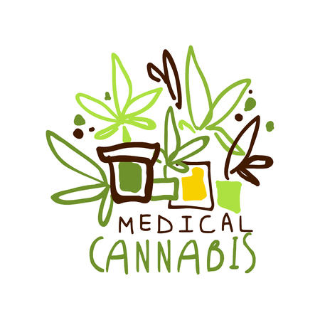 Medical cannabis label, graphic template colorful hand drawn vector Illustration