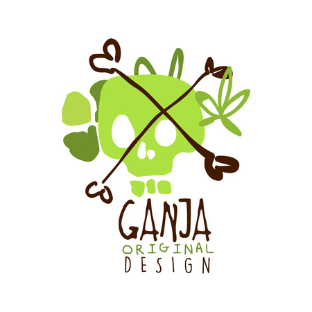 Ganja label original design, logo graphic template hand drawn vector Illustration