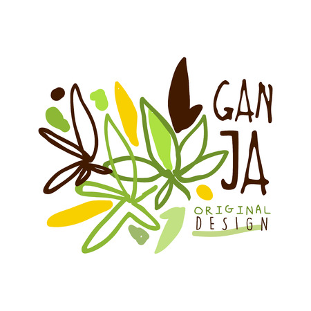 Ganja label original design, logo graphic template Illustration