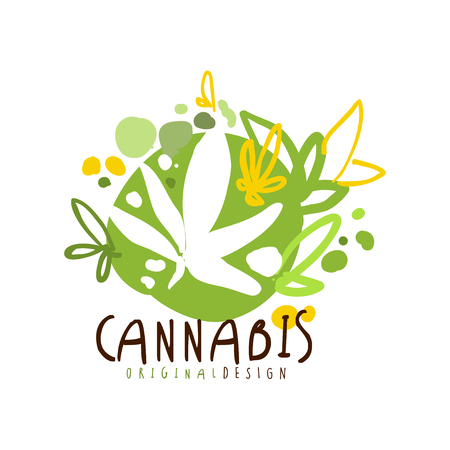 Cannabis label original design,  graphic template hand drawn vector Illustration Illustration