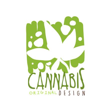 Cannabis label original design,  graphic template hand drawn vector Illustration Stock Vector - 80977485