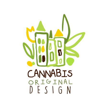 narcotic: Cannabis label original design, graphic template Illustration