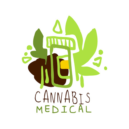 Cannabis medical label, graphic template
