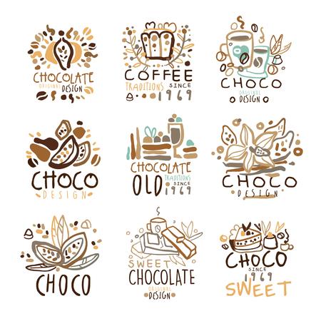 reeks van kleurrijke hand getrokken vector illustraties voor coffeeshop