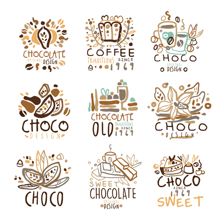 set of colorful hand drawn vector Illustrations for coffee shop