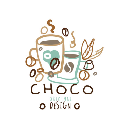 Choco label original design, hand drawn vector Illustration