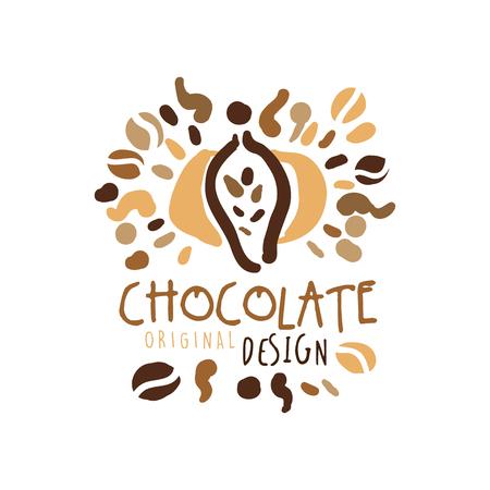 Chocolate label original design, hand drawn vector Illustration