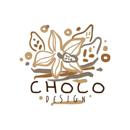 Choco label, hand drawn vector Illustration