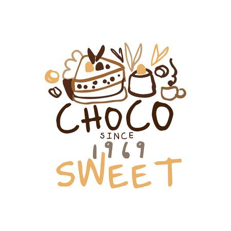 Sweet choco label since 1969, hand drawn vector Illustration