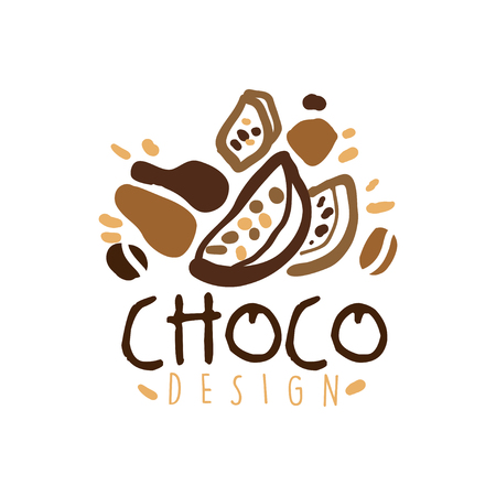 Choco label design, hand drawn vector Illustration in brown colors