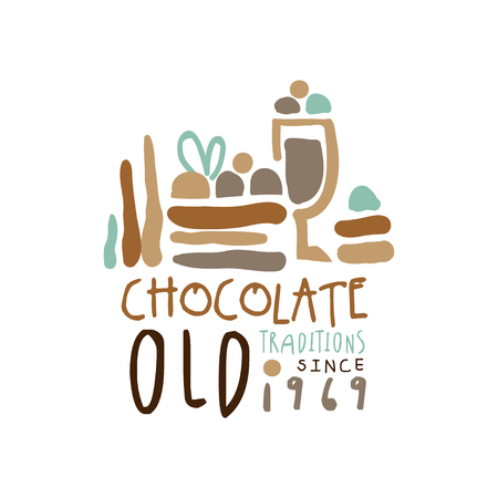 Chocolate old traditions label since 1969, hand drawn vector Illustration Ilustracja