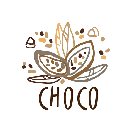 Choco label, hand drawn vector Illustration in brown colors Ilustracja