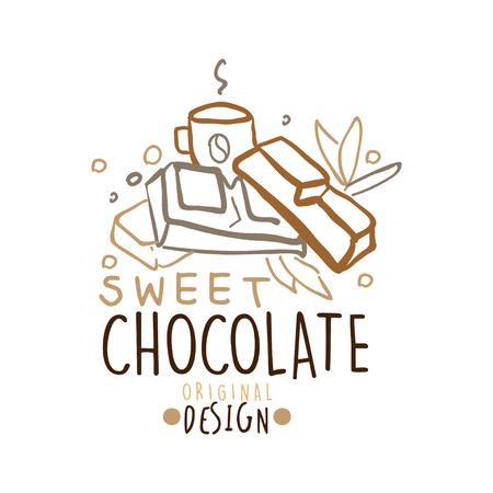 Sweet chocolate label original design, hand drawn vector Illustration in brown colors