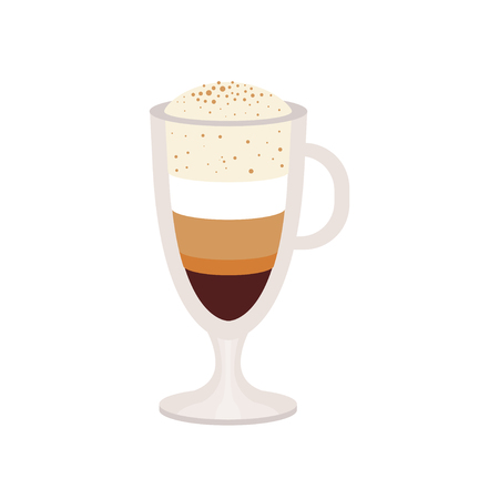 Coffee caramel macchiato in a glass cup vector Illustration