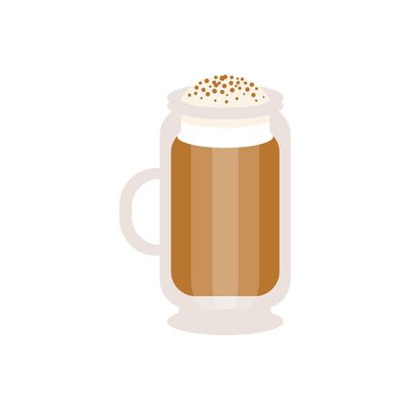 Coffee cappuccino in a glass mug vector Illustration
