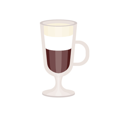 Coffee with cream foam in irish coffee mug vector Illustration Ilustração