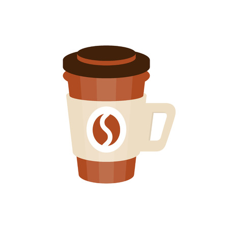 Coffee bottle with coffee bean icon vector Illustration